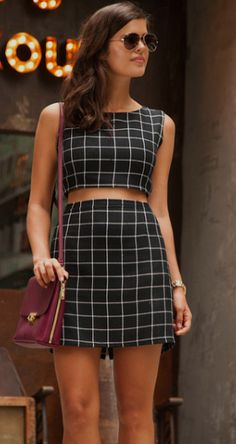 Geneva Vanderzeil creates great look of a gingham mini skirt and crop top with black heels - we love it! Top & Skirt: DIY, Heels: Tony Bianco, Bag: J Crew Passion For Fashion, Love Fashion, Womens Fashion, Fashion News, Street Chic, Street Style, Co Ords Outfits, Classic Style Women, Two Piece Outfit