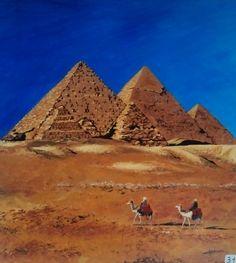 Les pyramides de Giseh. Acrylique, Christine Monsion