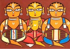 Jamini Roy IGNCA His name means beautiful relaxing night. And his beautiful paintings somehow lives up to meaning of his. Worli Painting, India Painting, Phad Painting, Texture Painting, Fabric Painting, Modern Indian Art, Indian Folk Art, Modern Art, Contemporary