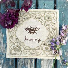 Bee 'happy' embroidery by Gracie's Garden Bazaar, via Flickr