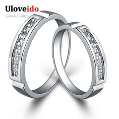 Find More Rings Information about Uloveido Silver CZ Diamond Fashionable Engagement Ring For Women And Men Summer Style…
