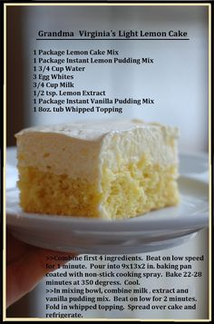 Grandma Virginia's Light Lemon Cake :) new lemon cake recipe to try yay!!!