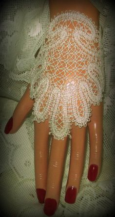 White Lace Pearlized Metallic Fingerless Bridal by joyspecialties, $30.00