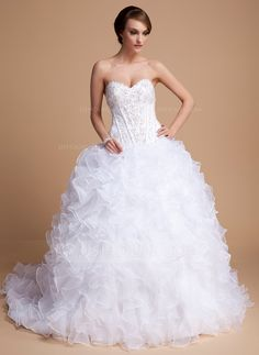 Ball-Gown Sweetheart Chapel Train Organza Satin Wedding Dress With Beading Sequins Cascading Ruffles (002011996) - JJsHouse