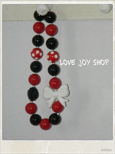 Mickey / Minnie Mouse inspired red and black by LoveJoyShop, $16.00