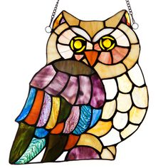 River of Goods 11-inch Tiffany Style Stained Glass Hoot's Owl Window Panel | Overstock.com Shopping - The Best Deals on Stained Glass Panels