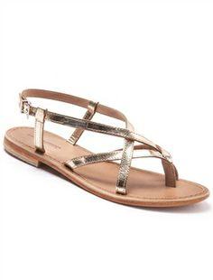 Sandales à brides croisées dorées, cuir, HIBOUX-Chaussures-Les Tropeziennes  Par M 5a4db5bb863a