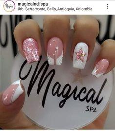 Simple Nail Art Videos, Easy Nail Art, French Manicure Nail Designs, Nail Art Designs, Summer Toe Nails, Elegant Nails, Best Acrylic Nails, Trendy Nails, Glitter
