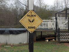 alien crossing sign.