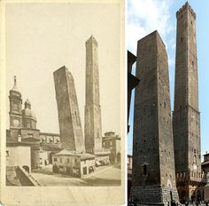 Two towers of Bologna Italy are major landmarks in this city. They were constructed between 1109 and 1119 The taller one is Asinelli, the shorter one is Garisenda