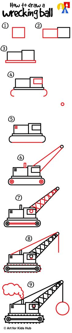 Learn how to draw a wrecking ball crane.