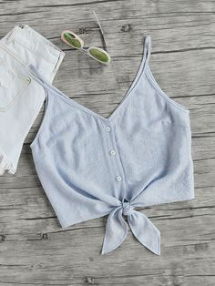 Online shopping for Button Placket Knot Front Cami Top from a great selection of women's fashion clothing & more at MakeMeChic. Cami Tops, Cami Crop Top, Cropped Cami, Cropped Top Outfits, Crop Tank, Mode Outfits, Fashion Outfits, Womens Fashion, Stylish Outfits