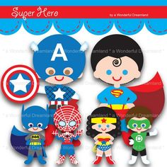 Printable Clip Art Digital PDF PNG File- 11 inch Superhero Centerpiece | wonderfuldreamland - Digital Art  on ArtFire