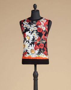 SLEEVES LOOSE SWEATER FOULARDEINSATZ SILK - Sleeveless sweaters - Dolce & Gabbana - Summer 2016