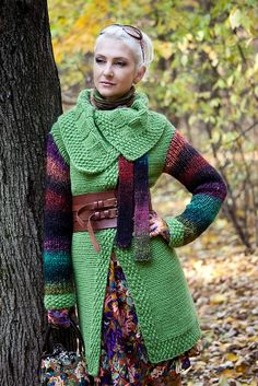 knitted coat...looks like the lichen that grows on fallen rotting trees in a rain forest