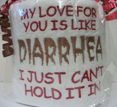 Custom made embroidered true love toilet paper by 3starmilitarymom, $9.50