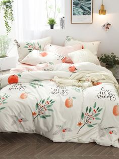 SheIn offers Fruit & Letter Print Sheet Set & more to fit your fashionable needs. Bedroom Sets, Dream Bedroom, Room Decor Bedroom, Bedrooms, Duvet Bedding, Comforter Sets, Cute Bed Sheets, Pastel Room, Cute Bedroom Ideas