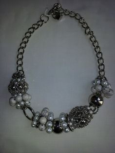 Handmade Rhodium Pearl-like Stone Necklace at www.pearlple.com