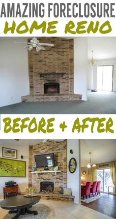 Before & after images of a foreclosure home renovation with lots of inspirational spaces.