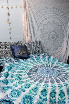 Gypsy Aquamarine & Silver Gypsy Goddess Mandala Tapestry & Duvet by Lady Scorpio. Bohemian Bedroom Decor by Lady Scorpio