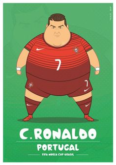 Colombia-based illustrator Fulvio Obregon has created a series of illustrations, in which he imagined World Cup soccer players as. Fat Football Player, Best Football Players, Football Art, Soccer Players, Cristiano Ronaldo, Messi Vs Ronaldo, World Cup 2014, Fifa World Cup, Lionel Messi