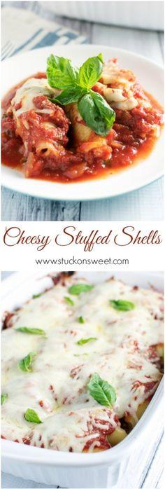 Cheesy Italian Stuffed Shells - Stuck On Sweet
