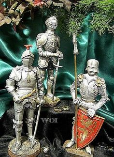 3 Medieval Soldier Knight Full Plate Armor Shield Sword Spear Man At Arms Statue