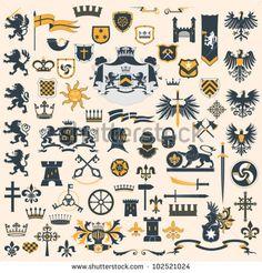 Heraldic Design Elements Set Stock Vector - Illustration of lock, coat: 24776130 Vector Free Download, Free Vector Images, Eps Vector, Vector Art, Vectors, Family Crest Symbols, Banner, Coat Of Arms, Signs