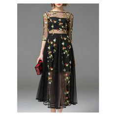Black Sheer Gauze Embroidered Midi Dress ($67) ❤ liked on Polyvore featuring dresses, embroidered dress, calf length dresses, embroidery dress, mid calf dresses and see through dress