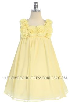 CA_C611BN - Girls Dress Style 611- BANANA- Sleeveless Chiffon Floral Babydoll Dress - Yellows - Flower Girl Dress For Less