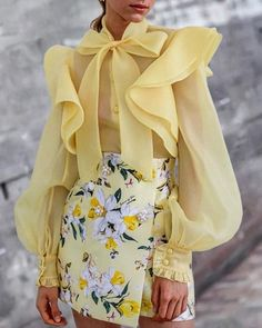Shop Solid Lantern Sleeve Bowknot Neck Ruffles Blouse right now, get great deals at bellewholesale. Source by elochy Blouses Classy Outfits, Chic Outfits, Mode Bcbg, Mode Abaya, Mode Inspiration, Pattern Fashion, Blouse Designs, Ruffles, Ready To Wear