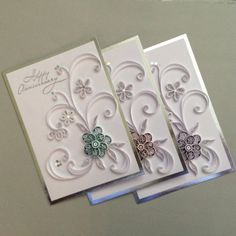 Happy Anniversary Quilled Card with Silver Accents