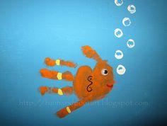 Handprint fish with fingerprint bubbles!