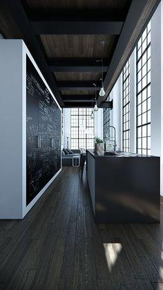 Dark Brown wood floor and ceiling Big Black ceiling rafters, black window frames, and a chalkboard wall