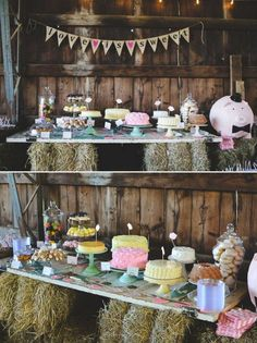 rustic country barn wedding dessert table / http://www.himisspuff.com/wedding-dessert-tables-displays/8/