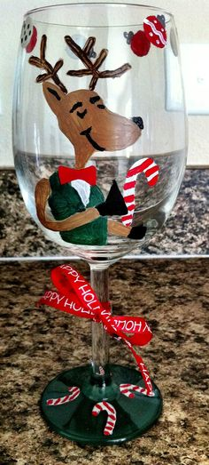 Holiday hand painted wine glass