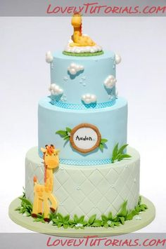 Mother and Baby Giraffe Baby Cake Tutorial. Great Tutorial and great ideas for creating other effects