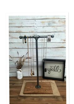 Large Industrial pipe jewelry stand, jewelry display, jewelry rack, rustic industrial chic by countrycornergoods on Etsy https://www.etsy.com/listing/257339068/large-industrial-pipe-jewelry-stand