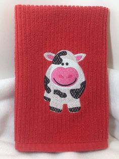 Embroidered Cow Kitchen Towel by TowelsbyMouse on Etsy, $6.00