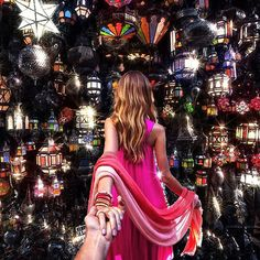 #followmeto Marrakech lamp store with @natalyosmann. This place looks like it is out of your wildest dream. What is your dream place you…