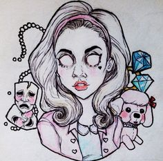 marina and the diamonds, electra heart the  archetypes artwork by @/heavymetalheartboy on instagram