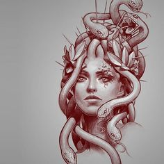 Image may contain: 1 person Medusa Drawing, Medusa Art, Medusa Gorgon, Medusa Tattoo Design, Tattoo Designs, Tattoo Ideas, God Tattoos, Body Art Tattoos, Sleeve Tattoos