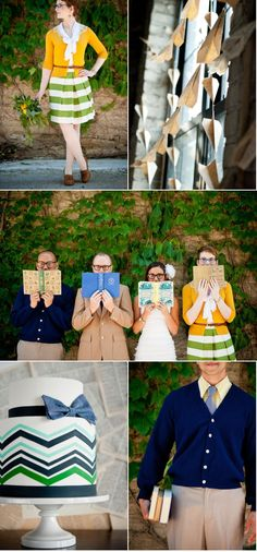 I like the paper airplanes a lot!      Minneapolis Library Inspiration Shoot by Jeff Loves Jessica   Style Me Pretty