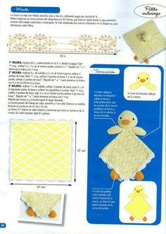 "Photo from album ""Crochet mantas de apego on Yandex. Crochet Dolls Free Patterns, Crochet Doll Pattern, Crochet Blanket Patterns, Crochet Gifts, Crochet Toys, Free Crochet, Crochet Disney, Crochet Baby Cardigan, Baby Blanket Crochet"