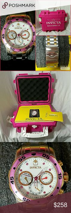 """INVICTA Ladies PRO DIVER Trinite Scuba Watch &Case Brand: Invicta Item *Womens Invicta Pink Pro Diver """"Master of the Oceans"""" Watch *Trinite Night Glow *Silver & Some Gold Tone Band *All Stainless Steel *Swiss Parts Movement *Measures 9.25"""" Around the OUTSIDE over the Face *Face Total Width is 1.25"""" *Links CAN be Removed for Sizing *50M Water Resistant *You Can Set the Time, Month, Date & Day of the Week *Comes With All Original Instructions & Paperwork-No Receipt *Scuba Box Can Hold Up to 3…"""