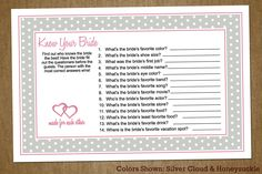 Vintage Bridal Shower Games   Know Your Bride Bridal Shower Printable Game: with Hearts - Custom ...