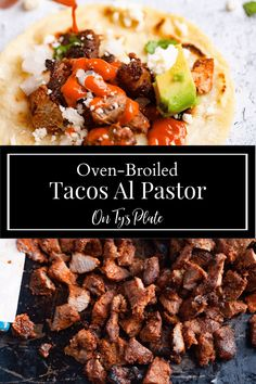 Oven-Broiled Tacos Al Pastor Best Dinner Recipes, Vegan Recipes Easy, Pork Recipes, Brunch Recipes, Mexican Food Recipes, Mexican Cooking, Amazing Recipes, Delicious Recipes, Cookie Recipes