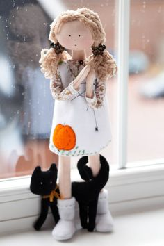 Halloween Cloth Doll with a Black Cat TracyHalloween by MintyClub