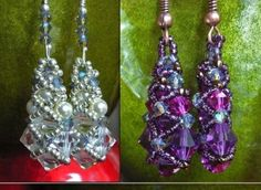 How To Make Black Diamond and Pearl Crystal Earring Pattern Tutorial