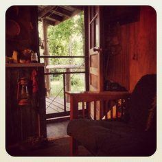 shelf, lantern & clothesline